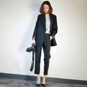 Spring and summer women's new Slim minimalist Student occupation suit +Ankle-Length Pants black pants feet pants two-piece suit