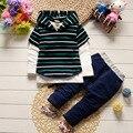 BibiCola 2017 do bebê das meninas dos meninos define vestuário crianças roupas listradas calças de brim criança de manga longa com capuz casuais terno de algodão