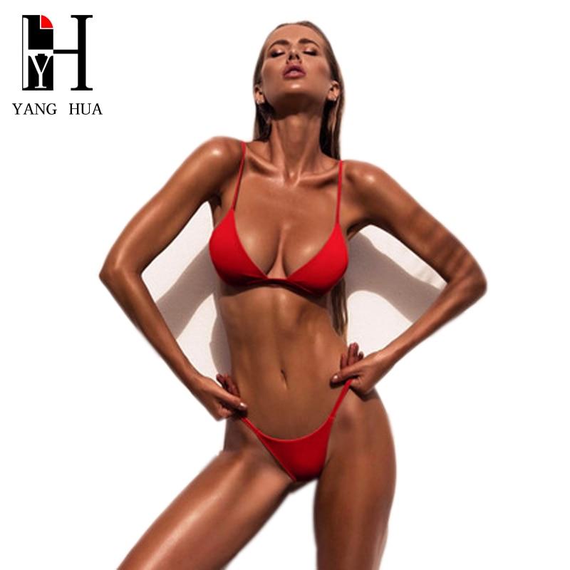 YANG HUA Brazilian Bikini 2018 Sexy Solid Top Thong Micro Women Swimsuit Bikinis Set Bathing Suit Beach Poland Swimwear Push Up