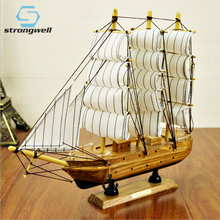 Strongwell 30cm Solid Wood Simulation Boat Model Mediterranean Mood Classic Wooden Sailing Toy Home Decoration Birthday Gift 1 50 classic wooden sailing boat rattlesnake 1782model kit page 2
