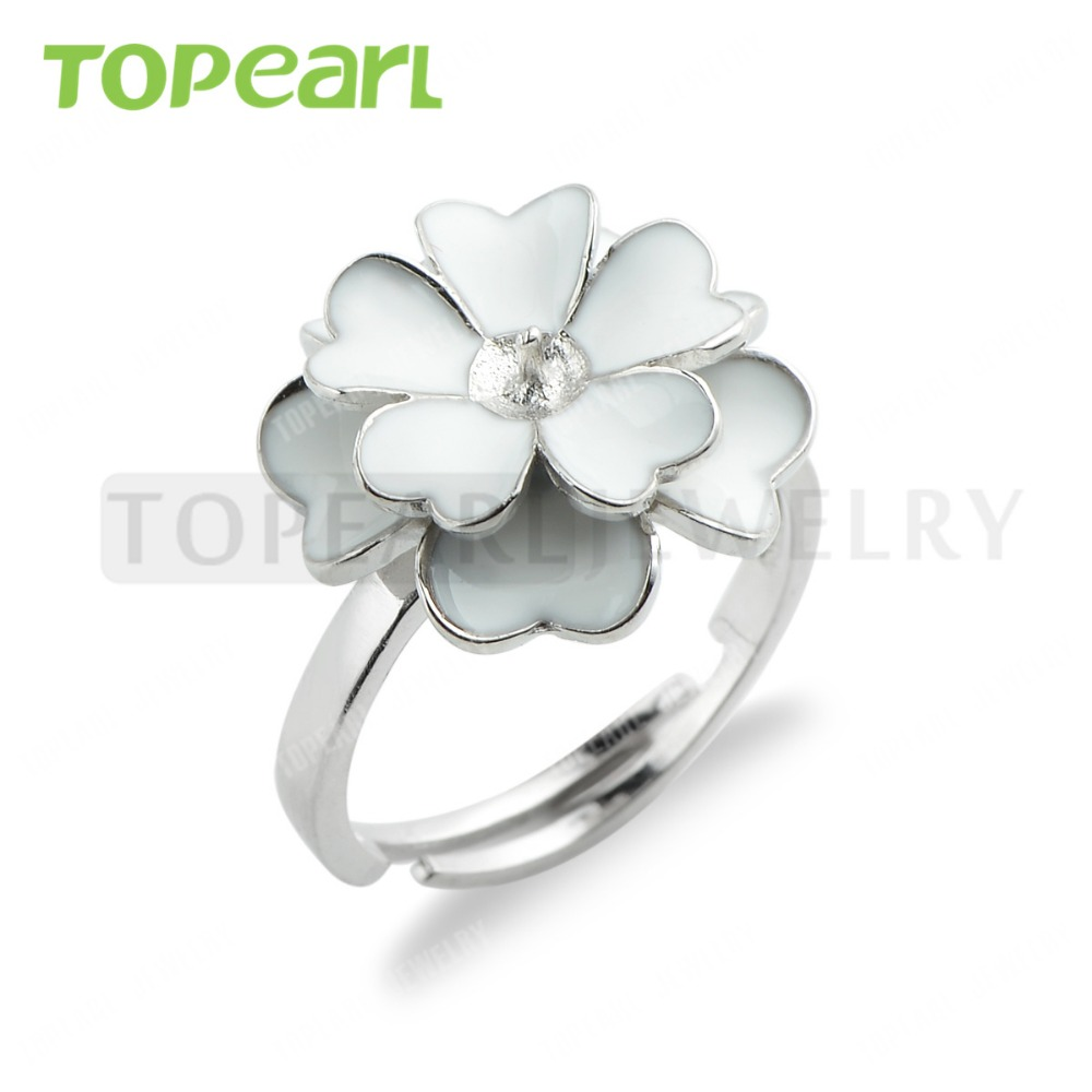 Lot 925 Sterling Silver White Shell Flower  Adjustable Pearl Ring Settings