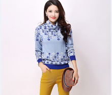 High quality newest style autumn and winter lady's pullover floral sweater turtleneck flowers sweater