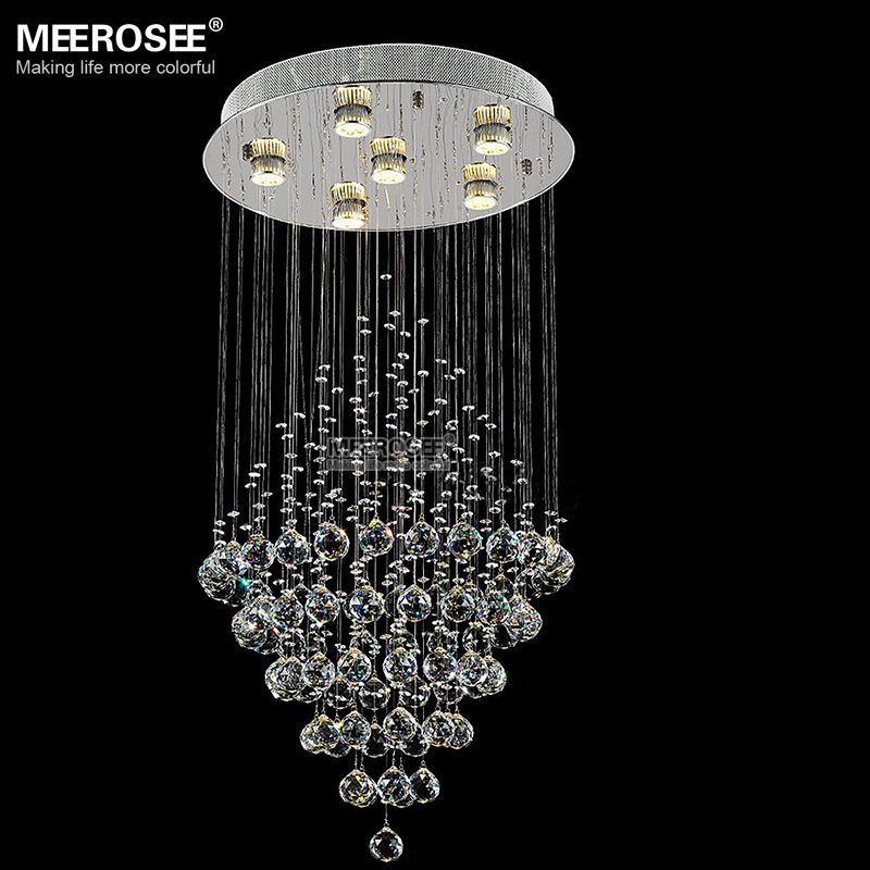 Long Crystal Ceiling Light Round Crystal Lamp For Foyer