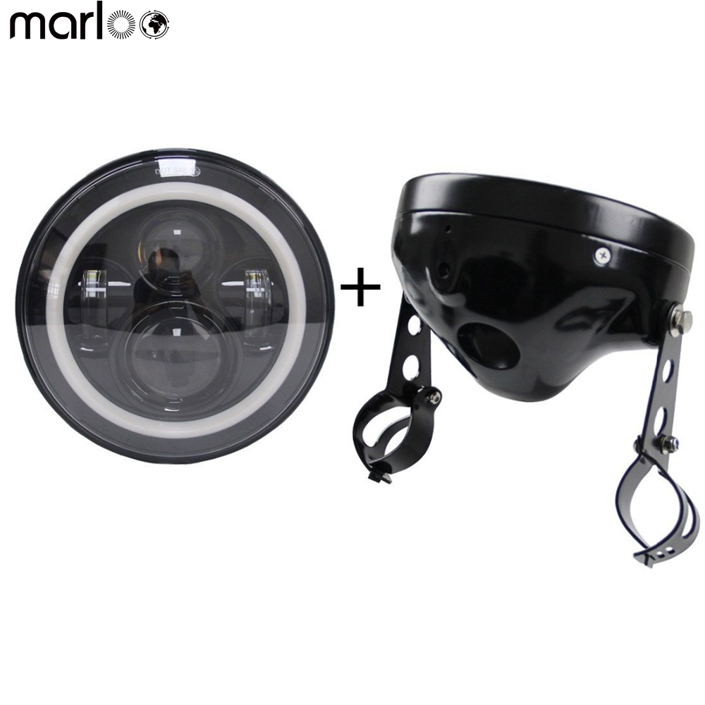 Marloo 7 Inch headlights Housing bucket with 7 Led headlight ( White DRL Amber signal light ) for Harley Davidson motorcycle