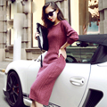 2017 New Fashion Autumn Women Elegant Knitted Long Sweaters Pullovers O-Neck Casual Stretch Fit Long Sleeve Tops Plus Size C429