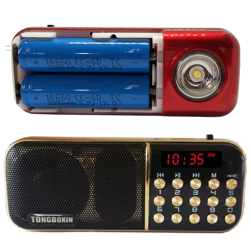 B-851SS With Strong LED Flashlight Portable FM Radio Speaker USB TF Player Two Rechargeable 18650 Battery Time Clock Function