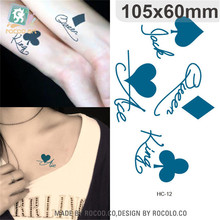 Body Art Waterproof Temporary Tattoos Paper For Women And Couples 3d Playing Cards Design Small Tattoo Sticker