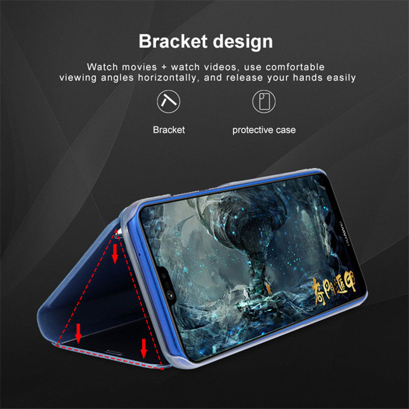 Luxury Mirror Flip Standing Case for Xiaomi Redmi Note 7 6 Pro Leather Cover for Coque Xiaomi mi9 8se Poco F1 Mobile Accessories in Flip Cases from Cellphones Telecommunications