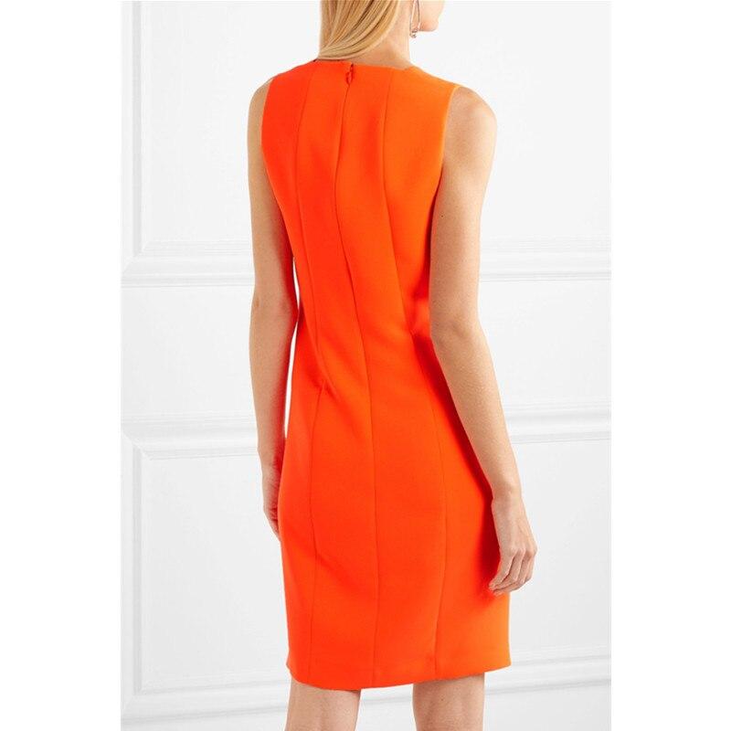 夏のノースリーブドレス 2019 新 V ネックエレガントなワークドレスオフィスの女性のファッションオレンジシーススリム通勤ルース女性のドレス XL  グループ上の レディース衣服 からの ドレス の中 3