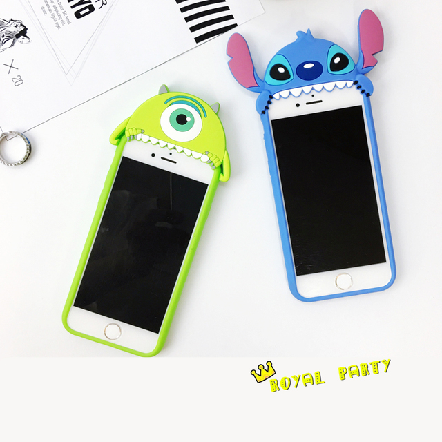 17512a1ef77 2017 NEW Style Cute 3D Cartoon Stitch Silicone Rubber Cover Funda Case For  iPhone 6 6s Plus Mike Wazowski Phone Case Drop Ship