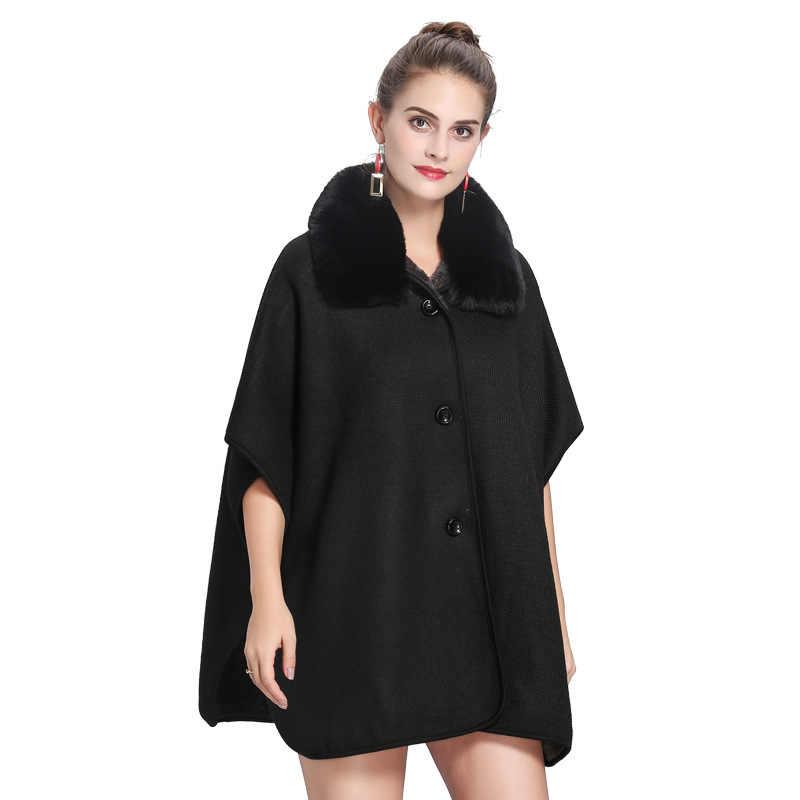 2018 Высокое качество Зимний теплый искуственный мех шеи длинный вязаный свободный пончо накидка осень женский толстый кардиган бархатная подкладка пальто