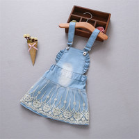 Mbbgjoy джинсовое платье для маленьких девочек Комбинезоны для девочек Подтяжки для женщин Платья для женщин 0-3years Кружево Жан Бретели для нижн...