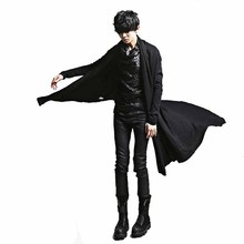 2018 New Fashion Irregular Black Trench Gown Hip Hop Mantle Cardigan Outerwear P
