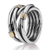 Authentic 925 Anel de Prata Esterlina Eternidade Entrelaçados Prata Subiu Corda Bandas Anéis Para Presente de Casamento Das Mulheres Belas Jóias Pandora