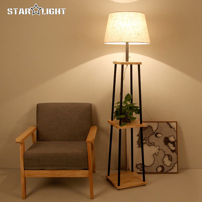 Modern Floor Lamp For Living Room Cotton Material Lampshade Wooden Stand Lighting Fixtures Free Shipping