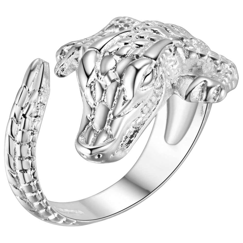 925 jewelry Silver Plated Ring Charming Rose Wedding Rings For Women Valentine's gift Alligator ring