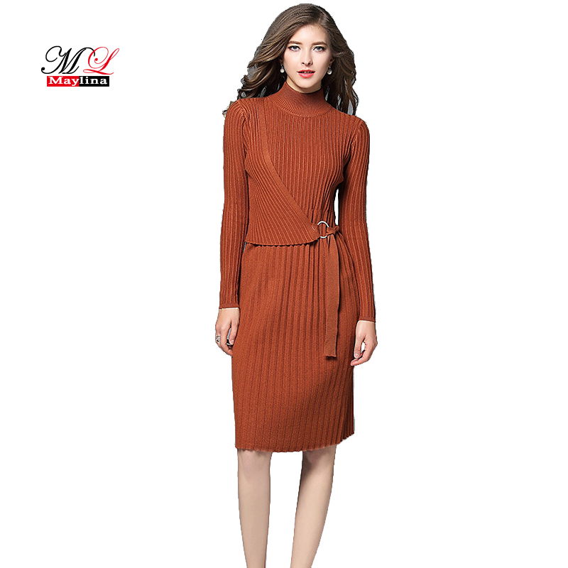 Maylina New Fashion Women Knitted Lurex Dress Slim Autumn Winter Bodycon Sweater Dresses Long Sleeve Pencil short Dress Female new 2017 hats for women mix color cotton unisex men winter women fashion hip hop knitted warm hat female beanies cap6a03
