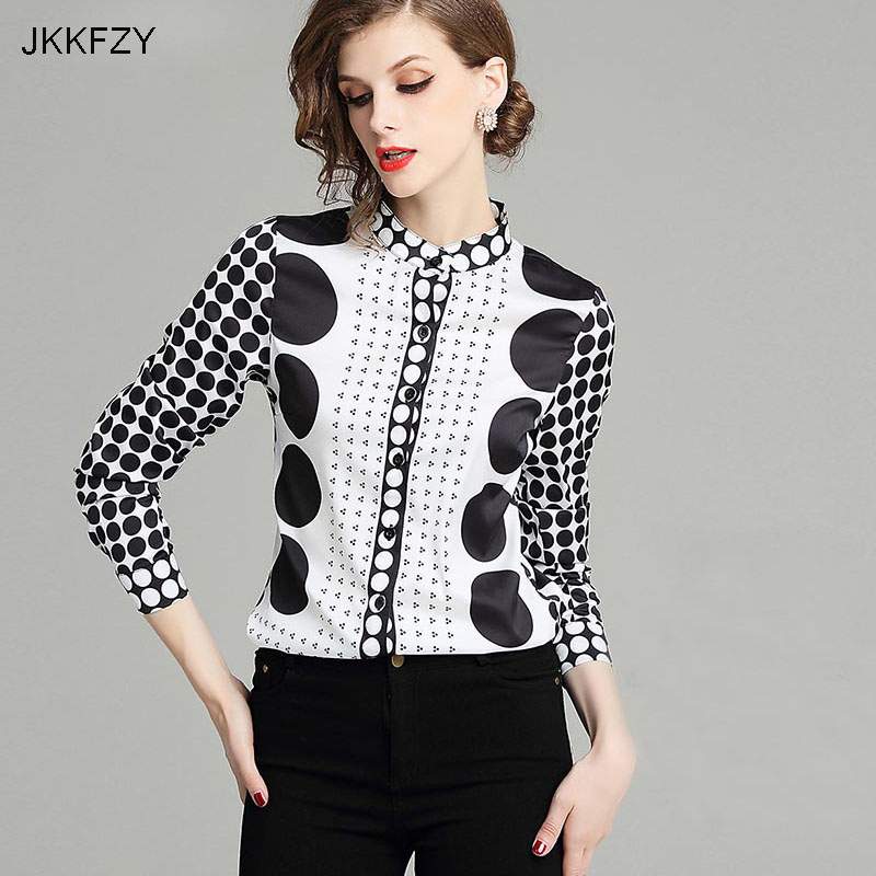 JKKFZY Women Autumn Runway Stand Collar Shirt  Fashion New White  Black Point  Print Long Sleeves OL Shirt  Female Party Top