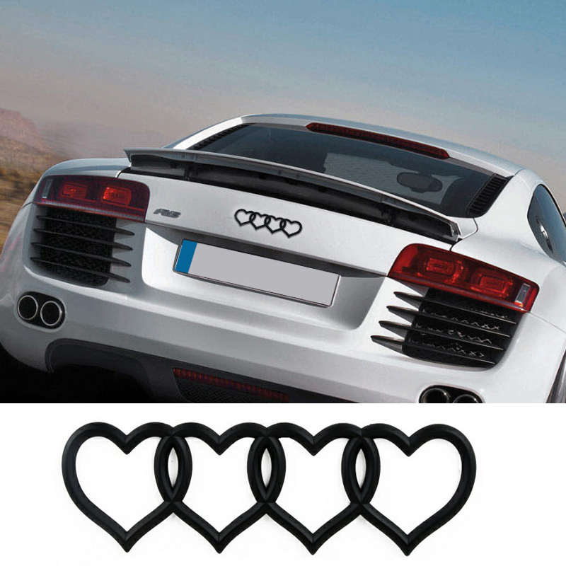 цена на Love Heart Logo Rear Trunk Badge Emblem Decal Sticker Replacement for Audi A3 A4 A5 A6L A8 Q3 Q5 Q7 TT RS3 RS5 RS8 S3