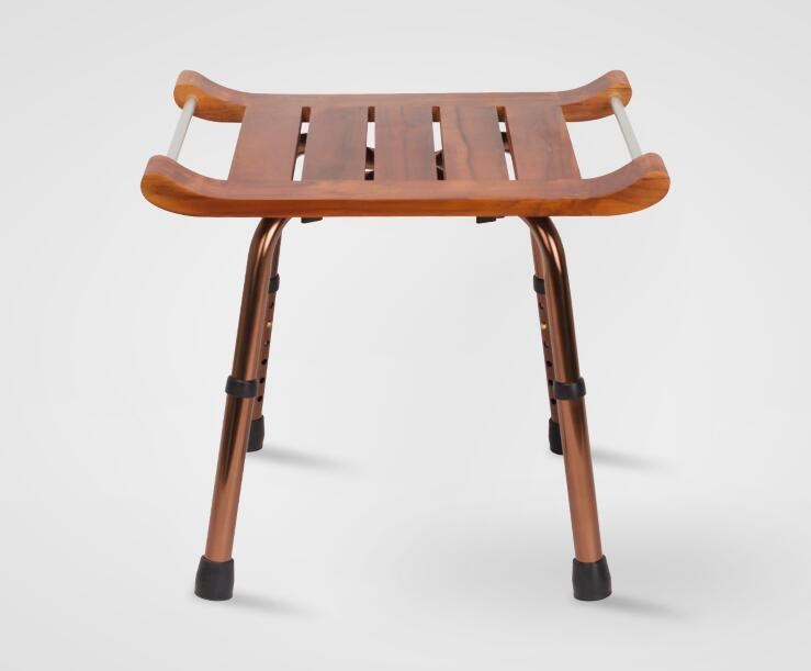 Us 80 1 10 Off Solid Teak Wood Stool Bench With Aluminum Alloy Legs Shaving Shower Stool Seat For Bathroom Toilet Waterproof And Easy Clean In