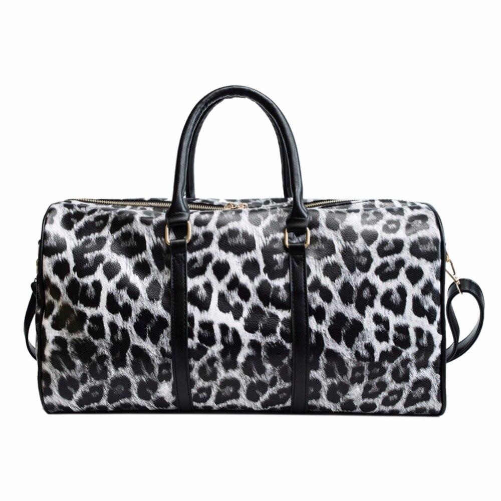 Women Travel Bags Pu Leather Large Capacity Waterproof Print Luggage Women Leather Handbags Casual Travel Bags