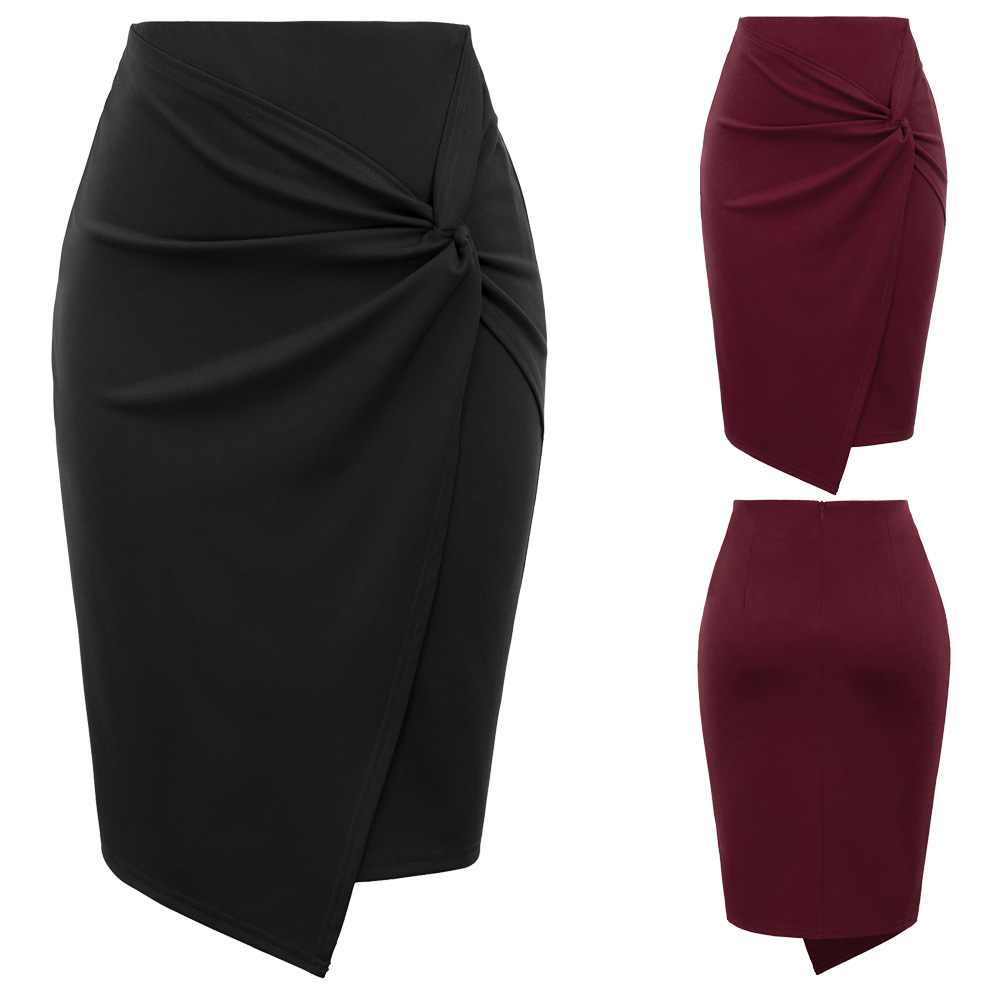 ladies Women mini skirts Autumn fall Asymmetrical Wrap Front knee length Stretch pencil Bodycon Skirt jupe femme office OL skirt