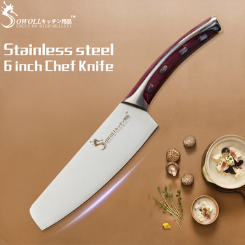 """SOWOLL Seamless Welding Kitchen Knife 4CR14 Stainless Steel Knife 6"""" Non-stick Chef Knife Energy-saving Cooking Tool Hot Sale"""