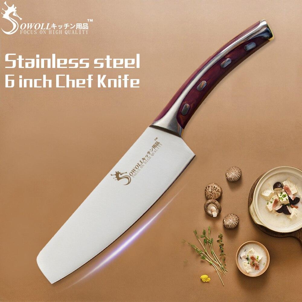 SOWOLL cuchillo de cocina de soldadura sin costura 4CR14 cuchillo de acero inoxidable 6