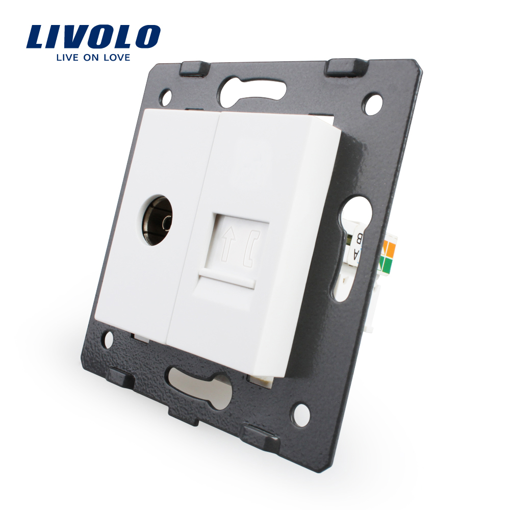 Manufacture Livolo, White Crystal Glass Panel, 2 Gangs Wall Tv And Tel Socket / Outlet VL-C7-1VT-11, Without Plug Adapter