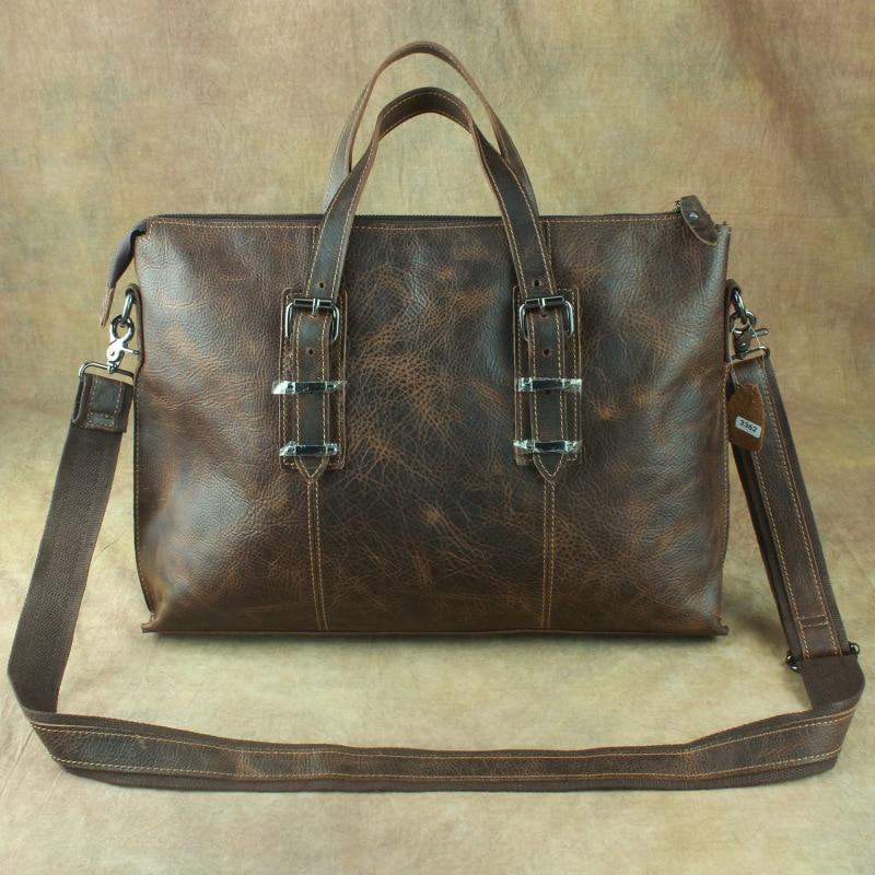 Nesitu Highend Brown Vintage Thick Genuine Leather 14'' Laptop Office Men Briefcase Shoulder Messenger Bags Portfolio M3362