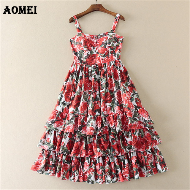 Women Floral Cami Dress Elegant Fashion Off Shoulder Backless Sundress  Classy Girl Party Printing Flower Dresses 472cace1a124