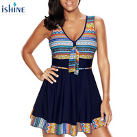 Plus Size One Piece Swimsuit Women Swimwear Push Up Padded Skirt Dress Bathing Suit Large Size