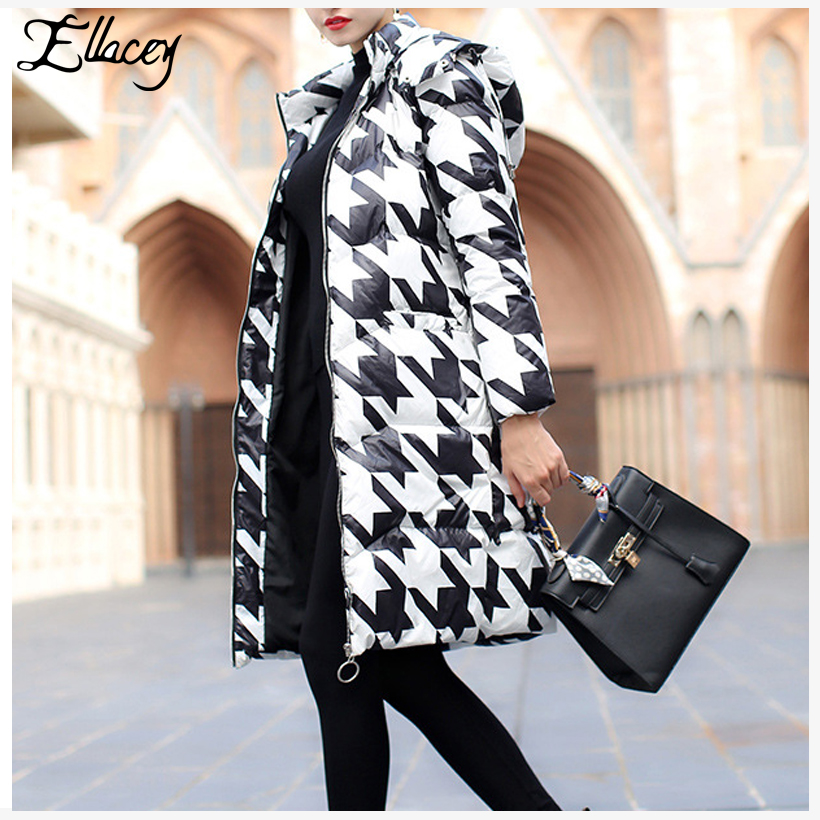 Popular Black White Houndstooth Coat-Buy Cheap Black White