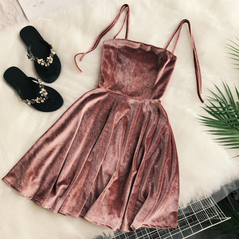 2018 new fashion women's dresses autumn straps high waist slimming velvet dress female vestidos