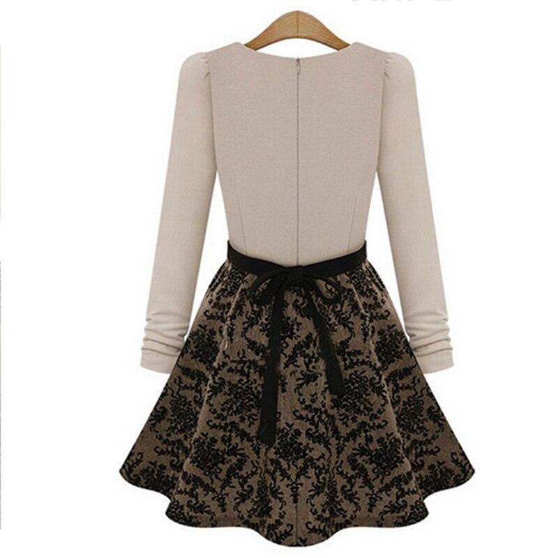 Manches Printemps Slim Pour De dames Balle Casual Courte Longues Dress noir Robes Mode Robe Style Automne Les Nice Patchwork Beige Femmes 5wOxWqAnP4