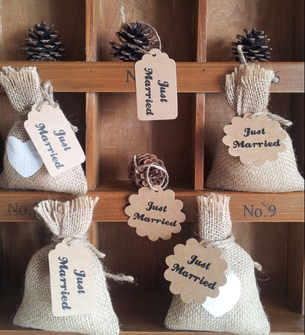 Wholesale rustic wedding candy candy bag natural burlap Burlap bag decorating ideas