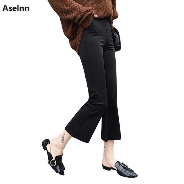 Aselnn 2018 сезон: весна–лето Для женщин широкие штаны эластичный пояс Тонкий прямые брюки расклешенные брюки для женщин