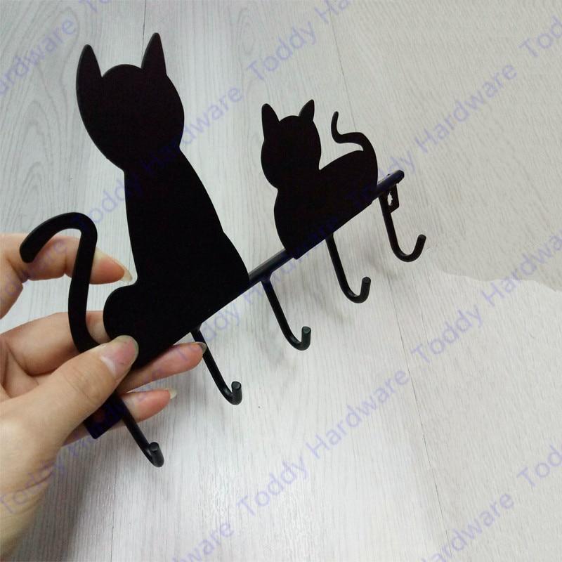 New Fashionable Black cat design Iron Coat hook Door Mounted Rustic clothes hook keys hook Robe Hanger wall hook robe hanger wall mounted hook