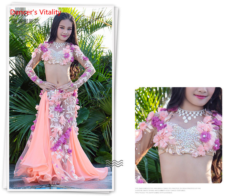 Custom Made Children's Belly Dance Set Show Costume New Chiffon Bra Long Skirt Fashion Set
