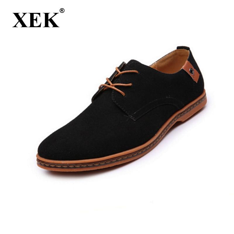 Novo 2017 moški čevlji suede usnjene čevlje moške modne znamke priložnostne mehke usnjene čevlje za moške Plus velikost 45,46,47,48