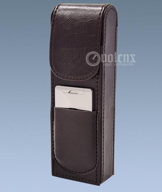 Cigar Gadgets Brown Leather Travel Cigar Case Portable Humidor Sharp Cutter Set