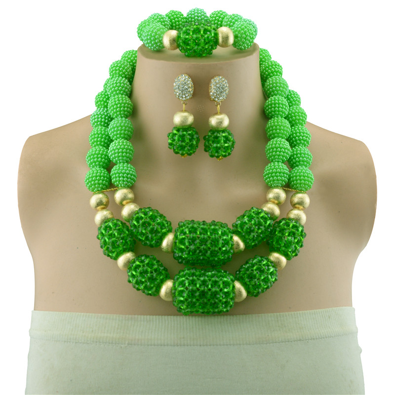 Green Crystal Bead Bridal Jewelry Sets Copper Beads Necklace Bracelet Earrings Sets Wedding African Beads Jewelry Set for Women viennois new blue crystal fashion rhinestone pendant earrings ring bracelet and long necklace sets for women jewelry sets