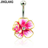 JINGLANG New Belly Button Rings Stainless Steel Barbells Red Enamel Gold Color Flower Navel Piercing For Women Jewelry