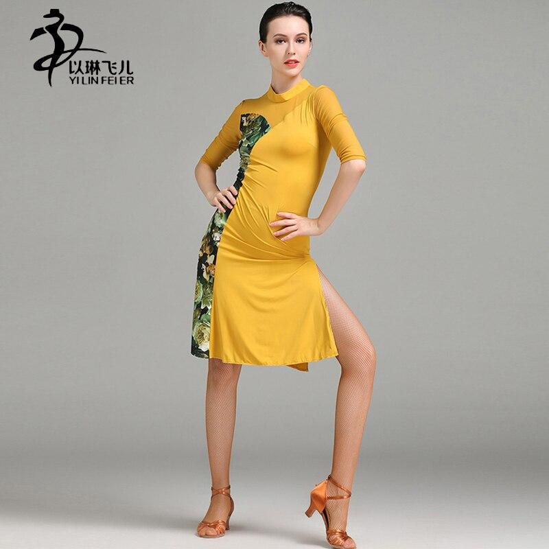 Latin Dance Dress Women Latin Rumba Standard Costume Ice Silk Tango Dress Girls Latin Dance Competition Costumes