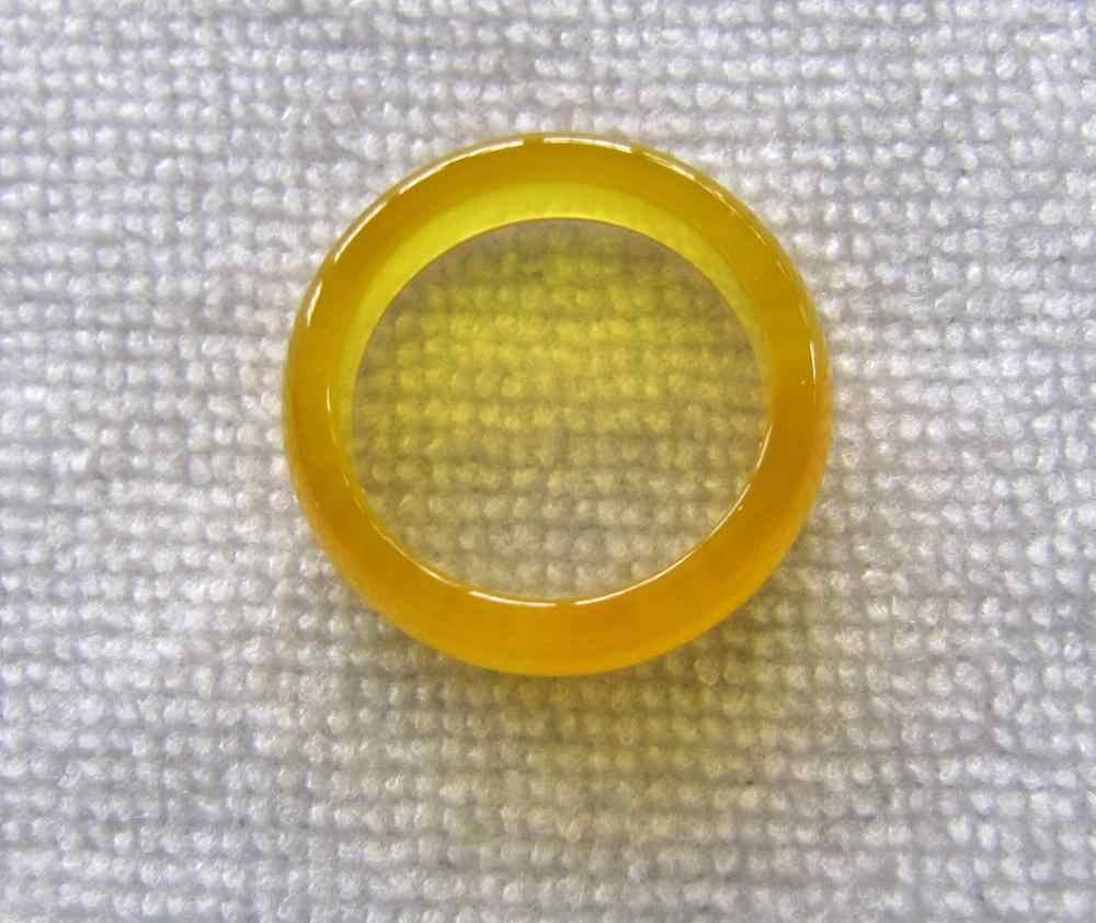 DYYใหม่อาเกตสีเหลืองธรรมชาติหยกมือแกะสลักแหวนวงขนาด7.5 # fast