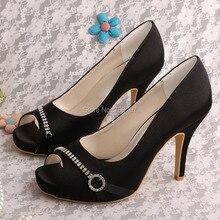 20 цветов элегантный черный высокие каблуки горный хрусталь свадебные туфли ну вечеринку женщины пип-схождение