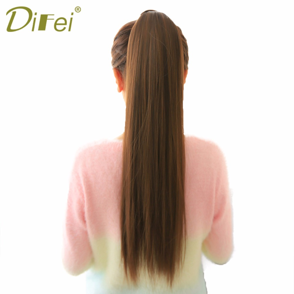 DIFEI Long Straigst Natural Ponytail Hair Extensions W Wrap On Hair Heat Resistant Hair Ponytails 0020