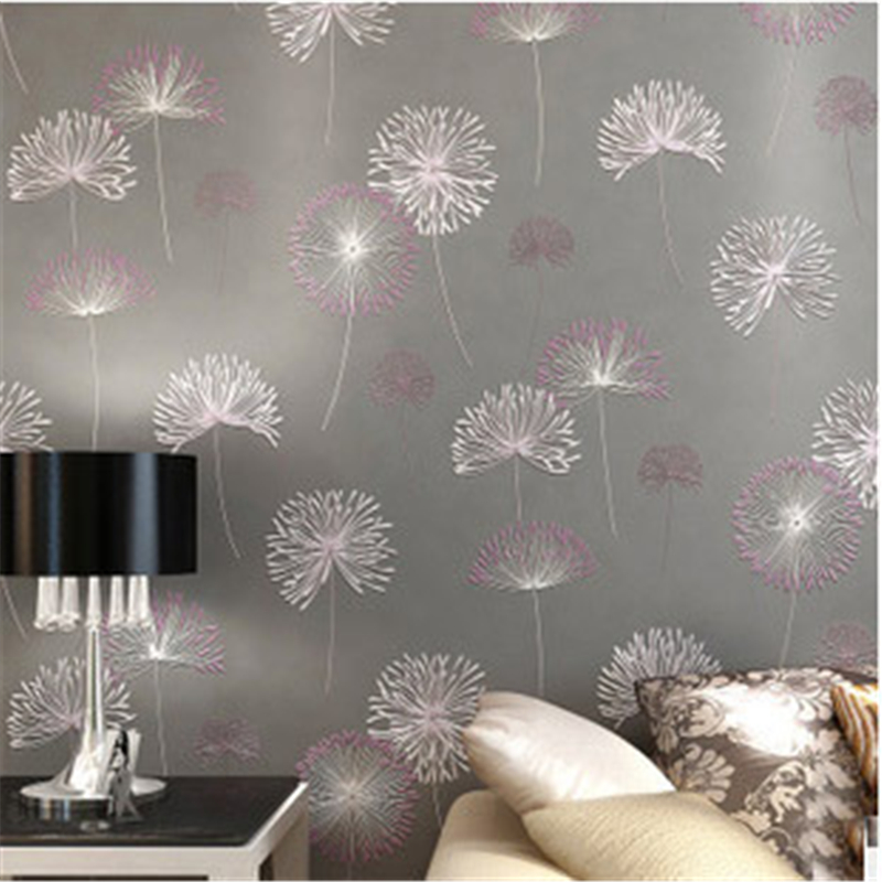 beibehang High Quality Romantic Dandelion Wedding Decorative Wallpaper Non-woven Floral 3D Wallpapers Mural Wall Paper 4 Col custom nordic simple dandelion hand painted floral background wall paper decorative painting factory wholesale wallpaper mural c