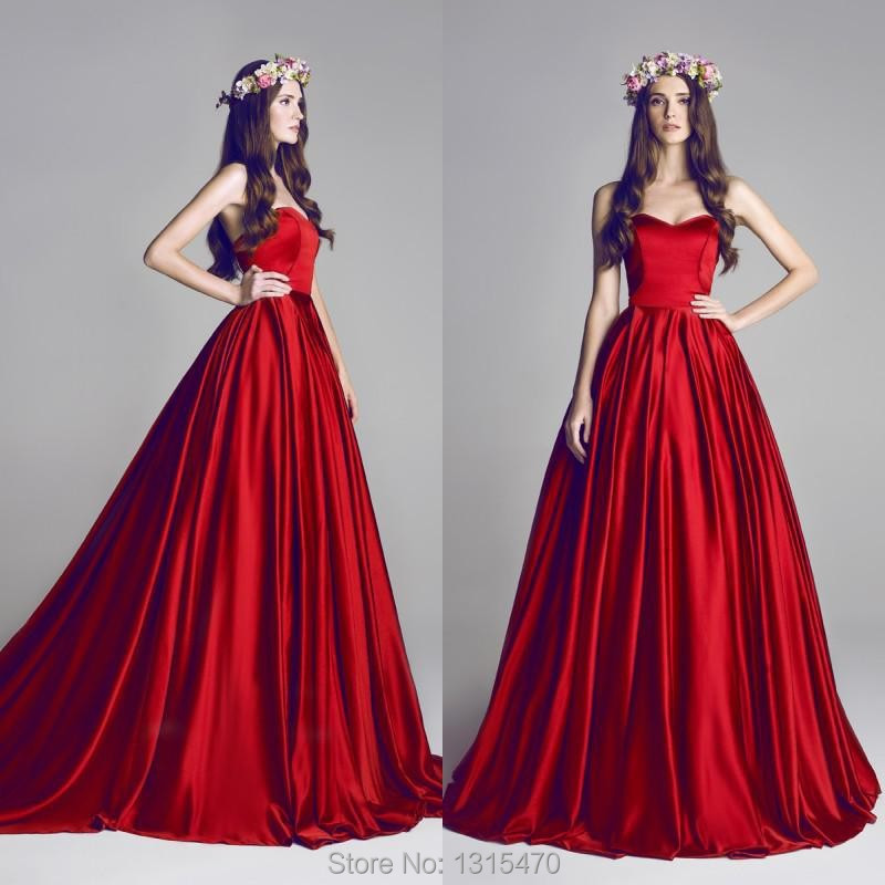 2016 New arrival Long Puffy Prom Dresses Red Ball Gown Evening Dress ...