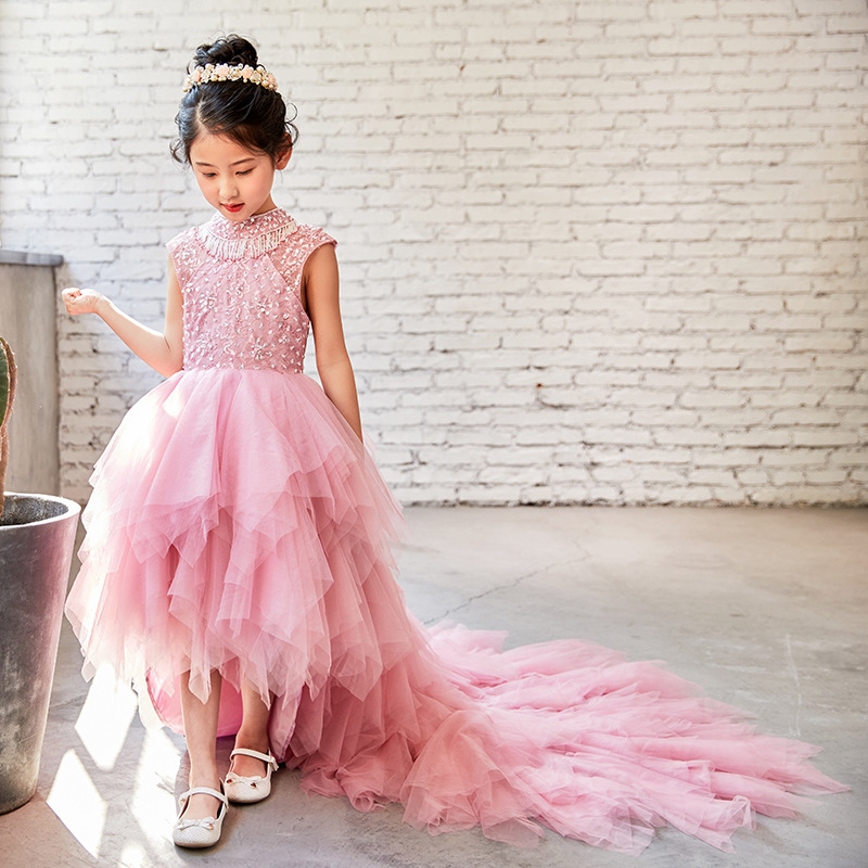 Children dress trailing princess tutu female 2018 new sleeveless flower girl dress costumes wedding catwalk 2018 children s catwalk tail dress large children s flower princess sequin embroidered children s dress